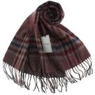 S.T.Dupont 羊駝毛混紗典雅格紋圍巾(咖啡紅)989120-6