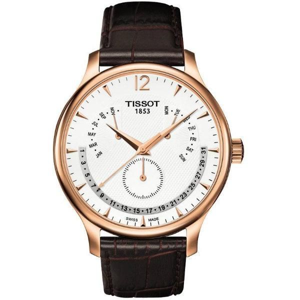 TISSOT天梭錶TRADITION逆跳萬年曆石英腕錶(T0636373603700)原廠公司貨