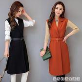春秋季新款韓版收腰無袖馬甲坎肩外套修身中長款西裝馬甲女潮  居家物語