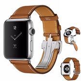 適用于蘋果手表帶適用apple watch真皮表帶iwatch折疊扣單圈【韓衣舍】