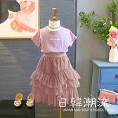洋裝/裙子 套裝2019女童夏季新品休閑短袖套頭T恤 兒童純色不規則紗裙4227
