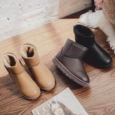 雪靴 皮面防水雪地靴女短筒學生短靴加絨加厚保暖棉鞋棉靴冬季新款 雙12交換禮物