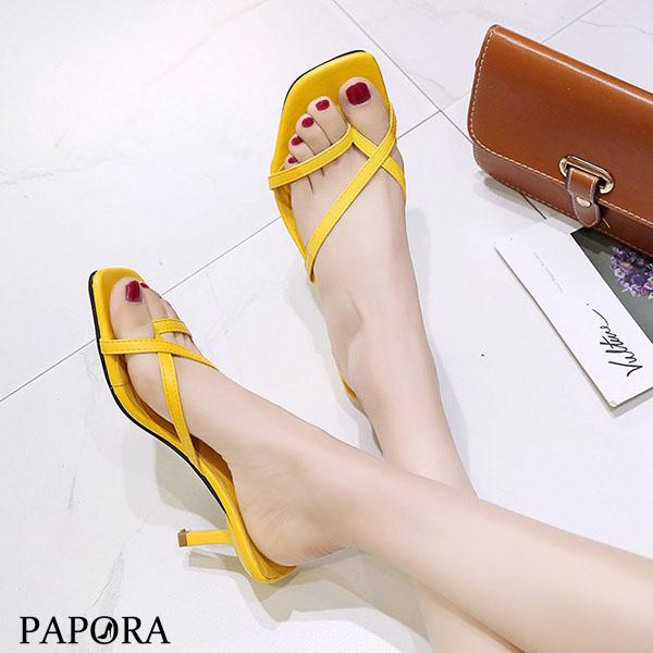 PAPORA線條套指氣質跟拖鞋涼鞋大尺碼KK378