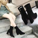 女鞋秋冬新款百搭尖頭磨砂中筒靴子粗跟高跟...