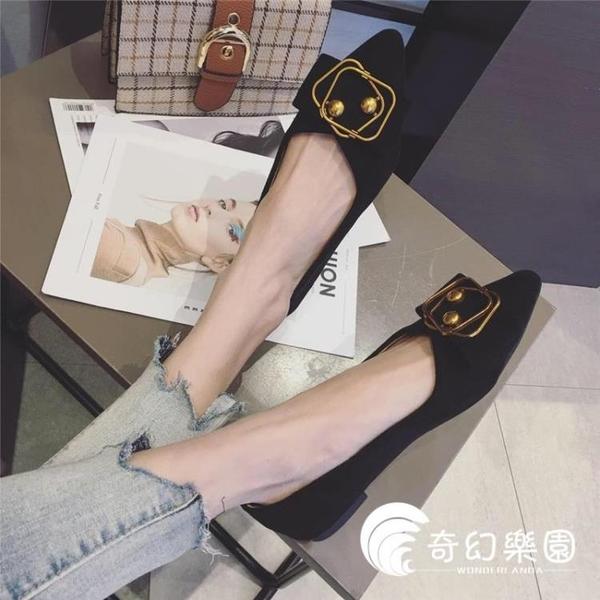 豆豆鞋-春秋新款尖頭平底單鞋女平跟軟底瓢鞋黑色女鞋淺口晚晚仙女鞋-奇幻樂園