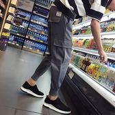 薄款日系休閒褲子九分褲男小腳收口運動束腳褲工裝哈倫褲  『夢娜麗莎精品館』
