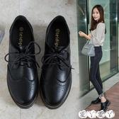 牛津鞋 英倫學院風布洛克女鞋復古原宿黑色粗跟小皮鞋韓版百搭單鞋女新品新年禮物