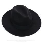 【YPRA】黑色英倫寬檐大檐毛呢爵士帽