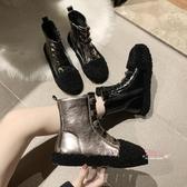 雪靴 2019秋冬季新款加絨短靴女羊羔毛毛鞋ins馬丁靴雪地靴女鞋35-39碼 2色