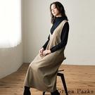 「Winter」氣質V領口袋設計吊帶裙 - Green Parks