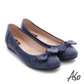 A.S.O 樂福氣墊鞋 全真皮蝴蝶結奈米氣墊鞋  藍