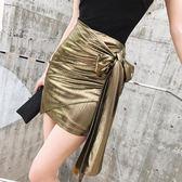 包臀裙 夏季時尚金色系帶包臀裙韓版顯瘦高腰性感一步裙女氣質