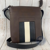 BRAND楓月 BALLY 咖啡色 真皮 男用 直立 斜背包 單肩包 側背包
