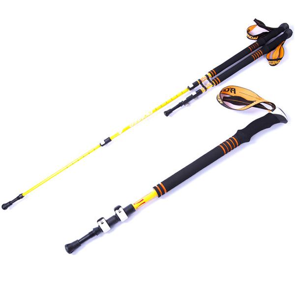 PUSH! 戶外休閒登山用品航空碳纖維COOLMAX手腕帶3LS三節式登山杖鮮亮款(2入)P66