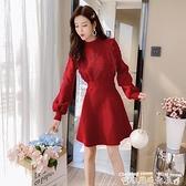 新款洋裝配大衣的毛衣裙子秋冬季加厚針織連身裙女修身氣質小個子打底裙潮 衣間迷你屋