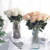 仿真花 玫瑰花絹花餐桌塑料花裝飾花藝擺設室內擺件假花干花花束 KB8639【宅男時代城】