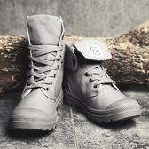 馬丁鞋 正韓夏季韓版潮流帆布復古馬丁靴男士英倫風百搭休閒高幫鞋【店慶狂歡八折搶購】