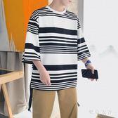 休閒七分袖 新款條紋T恤港風上衣七分蝙蝠衫7分短袖 QQ6579『東京衣社』