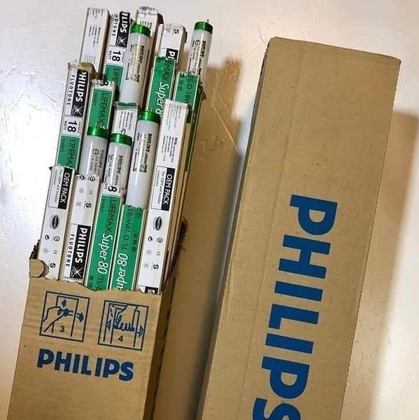 【多件優惠】PHILIPS 飛利浦 T8 三波長高效率省電 燈管 18W 黃光 2尺 燈管 1箱25支