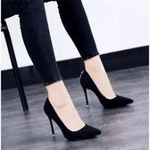 高跟鞋高跟鞋女尖頭高跟鞋女細跟新款韓版春秋單鞋女D扣黑色工作鞋 可然精品