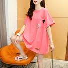 長款T恤 寬松設計感破洞短袖T恤女2021新款夏季洋氣網紅ins潮超火半袖上衣