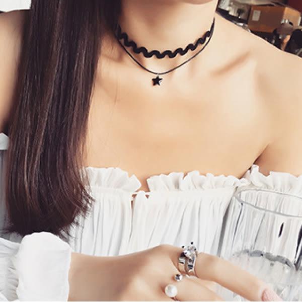 「預購」項鍊 頸鍊 歐美風韓版氣質星星吊墜雙層彈力頸鍊項鍊【1DDN0293】