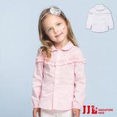 JJLKIDS 女童 小清新可愛花邊棉質長袖襯衫(2色)