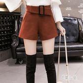 毛呢短褲 中大尺碼冬季毛呢短褲女新款外穿闊腿a型高腰顯瘦呢子靴褲OB4014『易購3c館』
