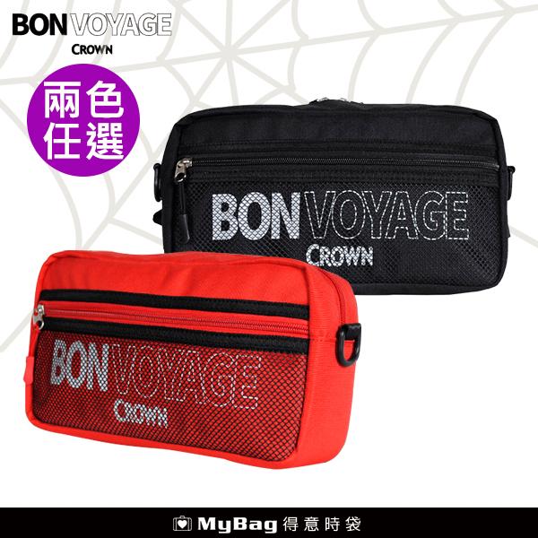 CROWN BONVOYAGE 時尚腰包 斜跨包 側背腰包 多夾層 運動 休閒 MCL5109 得意時袋