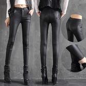 皮褲 高腰顯瘦韓版蕾絲邊皮褲秋冬緊身外穿 巴黎春天