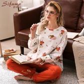斯服瑪長袖睡衣女春秋純棉網紅款甜美可愛可外穿家居服秋冬季套裝