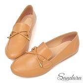 訂製鞋 MIT小文青蝶結豆豆鞋-棕