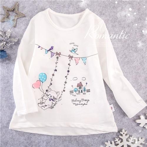 愜意繽紛花園貓咪鞦韆棉質長袖上衣(300171)【水娃娃時尚童裝】