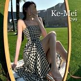 克妹Ke-Mei【AT68360】SPRING女神渡假風V領千島格開叉雪紡長洋裝