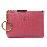 【COACH】經典LOGO防刮牛皮零錢包鑰匙包悠遊卡(蜜桃粉)