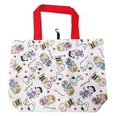 小禮堂 史努比 折疊尼龍環保購物袋 環保袋 側背袋 手提袋 (紅白 愛心) 4990270-12793