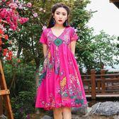 民族風復古印花大尺碼寬鬆洋裝連衣裙顯瘦裙子 旅游度假裙
