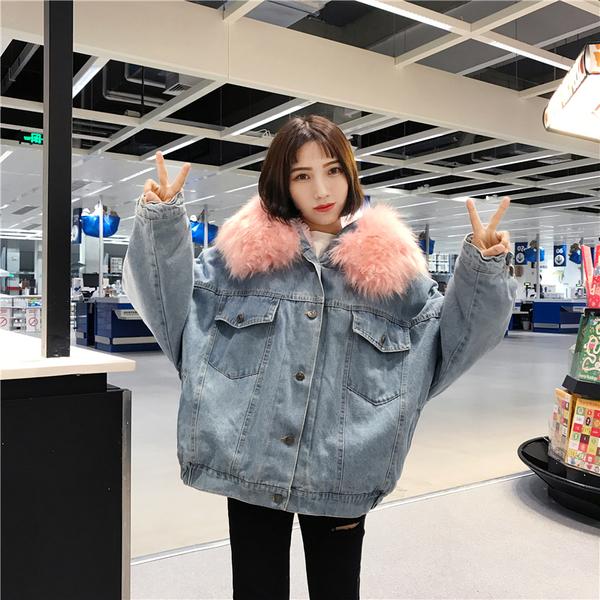(免運)DE shop - 加絨加厚寬鬆羊羔毛牛仔外套 - QW-1188