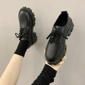 厚底鞋 學院風小皮鞋女英倫風2020新款秋百搭厚底中跟復古黑色工作鞋單鞋 韓國時尚週