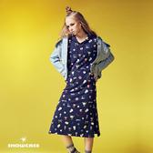 【SHOWCASE】休閒可愛彩圖連帽T恤長洋裝(藍)