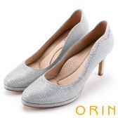 ORIN 晚宴婚嫁首選 閃閃水鑽金蔥布高跟鞋-銀色