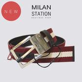 【台中米蘭站】全新品 BALLY 紅白織帶單扣皮帶-90cm(咖)
