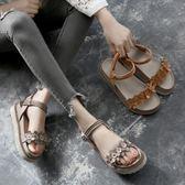 聖誕感恩季 厚底鬆糕鞋夏季新款港味復古學生平底涼鞋女