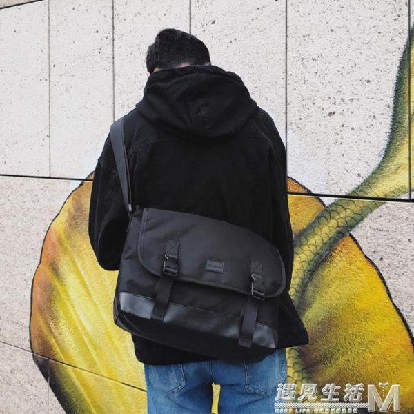 新款原創設計潮牌死飛郵差包學生書包男單肩斜背包男日系公文背包  遇見生活