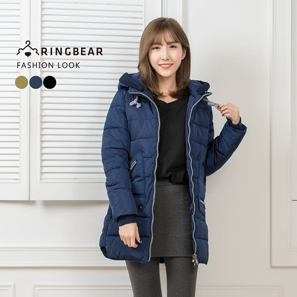 保暖--帥氣有型抽繩連帽羅紋縮口袖顯瘦版型羽絨棉外套(黑.藍.綠XL-3L)-J317眼圈熊中大尺碼
