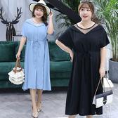 中大尺碼~翻領領口短袖連衣裙(XL~4XL)