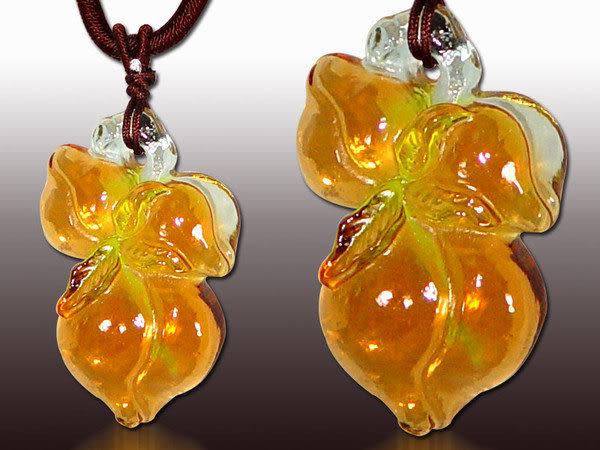 鹿港窯~居家開運水晶琉璃項鍊~壽桃◆ 附精美包裝◆免運費送到家