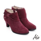 A.S.O 優雅美型 絨面羊皮水鑽蝴蝶結粗跟短靴  酒紅