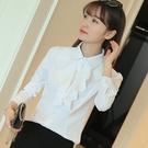 春秋荷葉花邊白色襯衫女長袖 職業工裝修身雪紡衫打底襯衣工作服