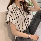 雪紡衫女韓版夏季大碼女裝條紋襯衫